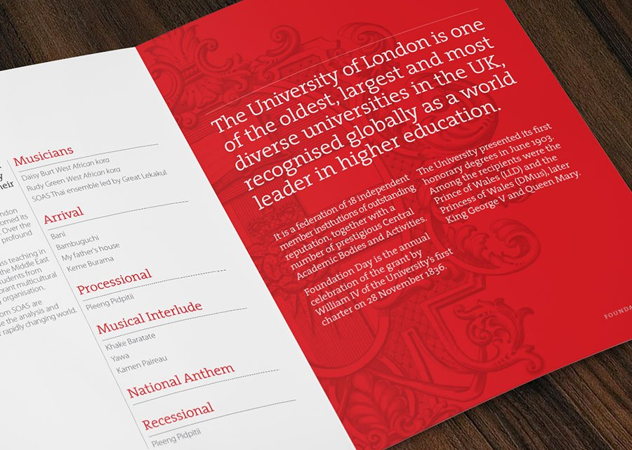University of London Foundation Day Event Programme - Education marketing material