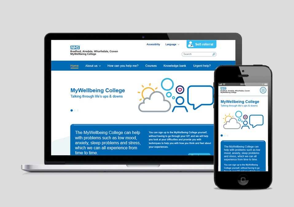 NHS responsive website design - My Wellbeing College