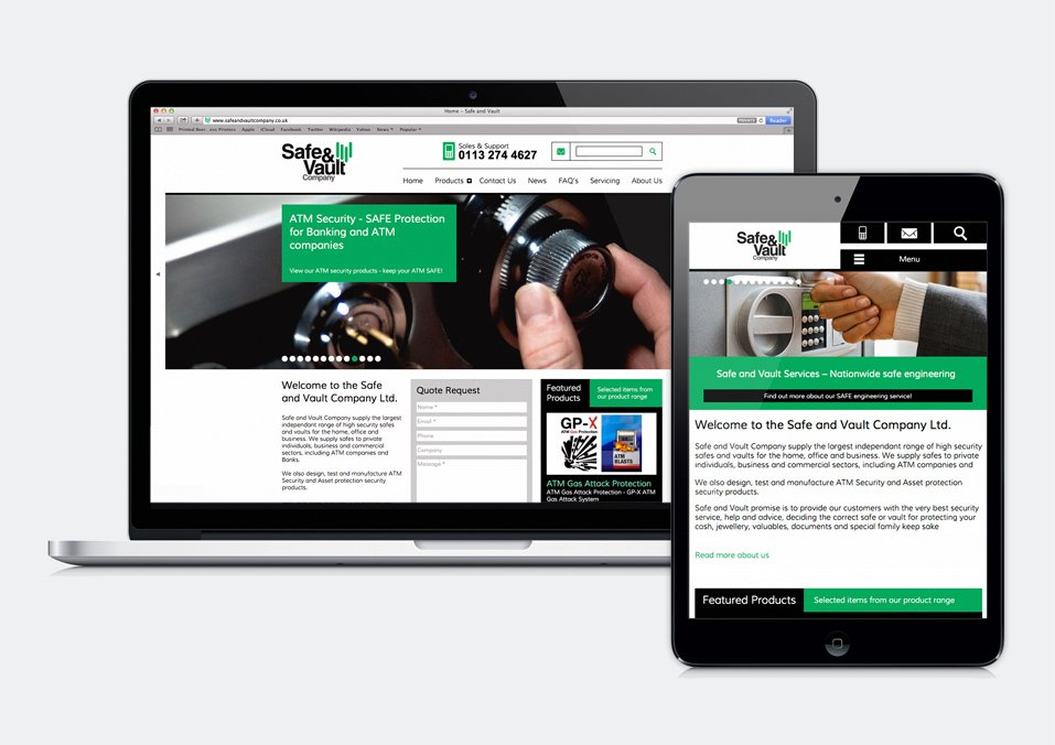 Safe and vault company responsive website design