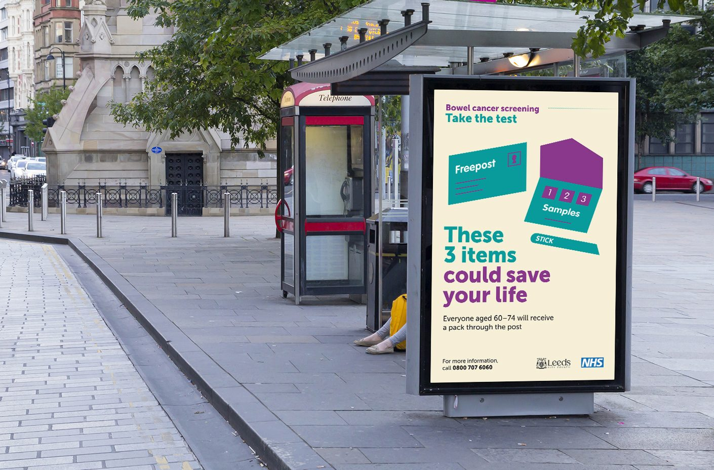 NHS Leeds Bowel Cancer Screening campaign billboard