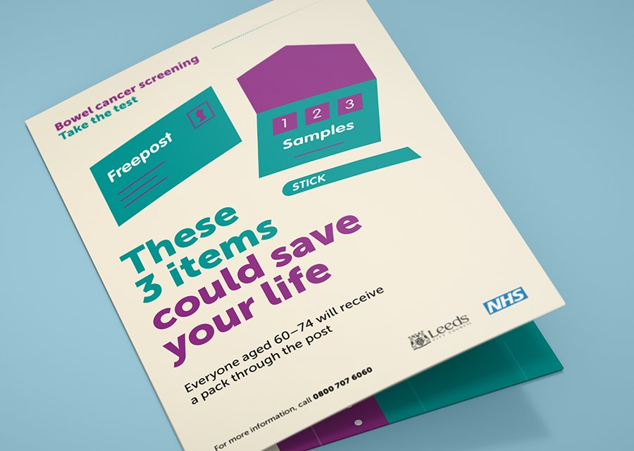 NHS Leeds Bowel Cancer Screening campaign leaflet