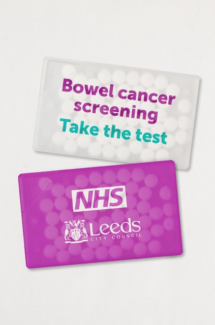 NHS Leeds Bowel Cancer Screening Campaign promotional mints