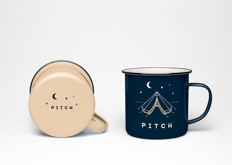 Pitch Tents enamel mug design