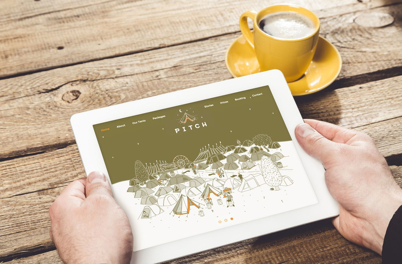 Using the responsive Pitch Tents website on a tablet