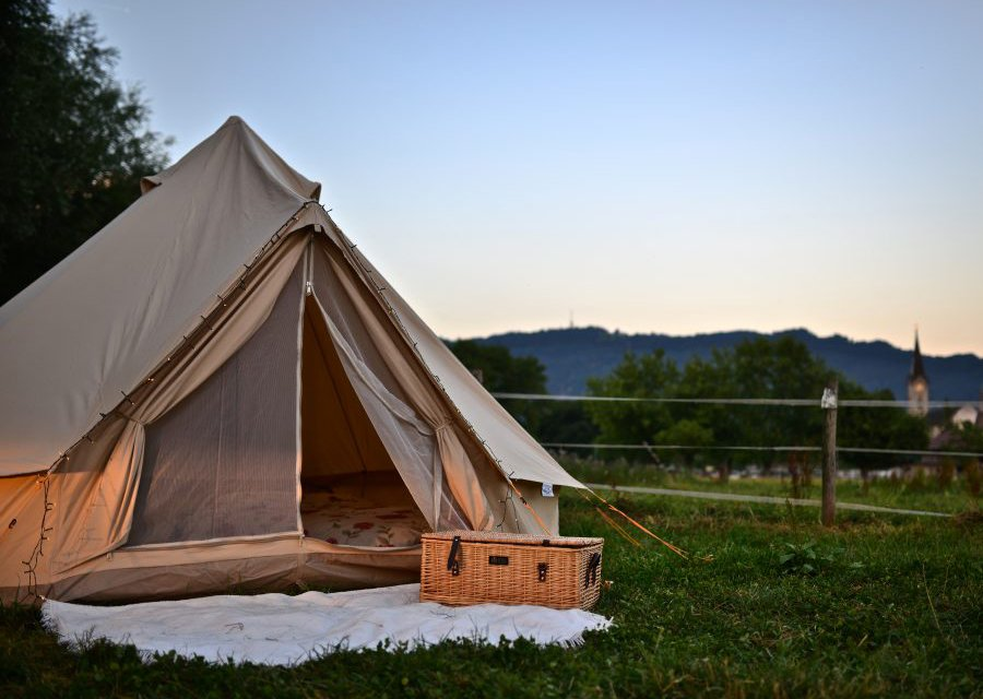 Luxury Pitch bell-tent set up for a glamping experience