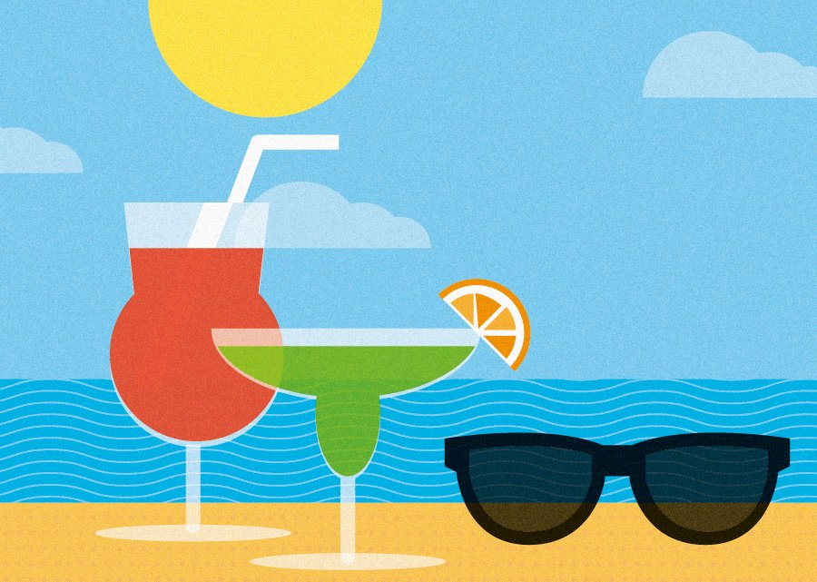 tips for branding a holiday business - drinks on the beach illustration