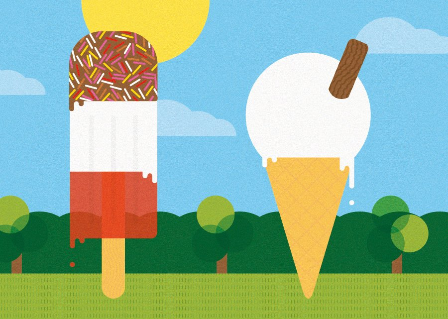 tips for branding a holiday business - ice creams in the park illustration