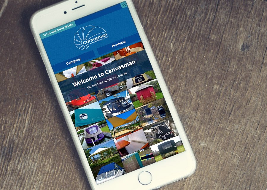 Canvasman responsive website on a smartphone