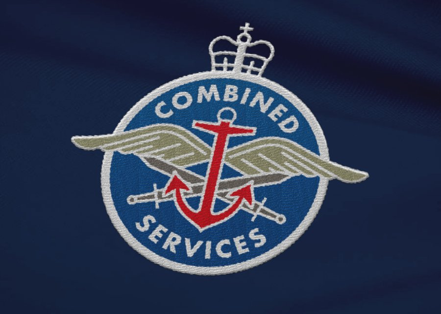 Combined Services rugby union fundraiser team badge design