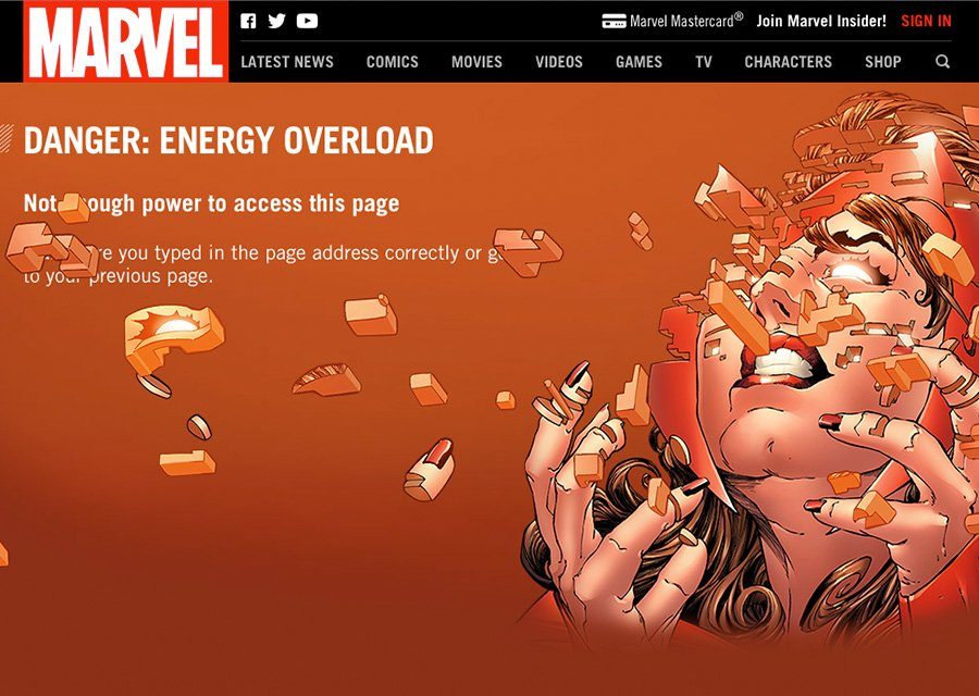 Marvel's Scarlet Witch 404 page