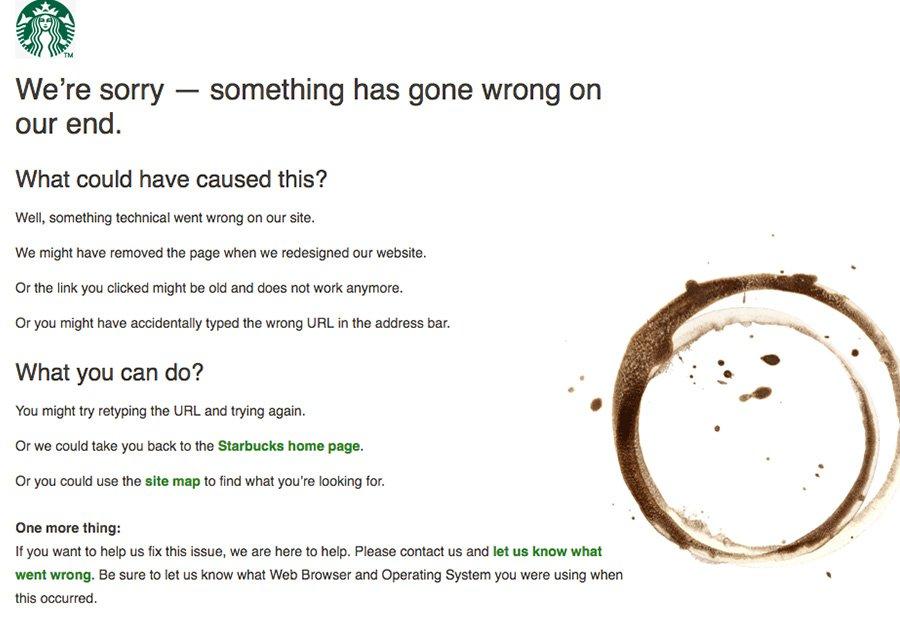 Starbucks' 404 page