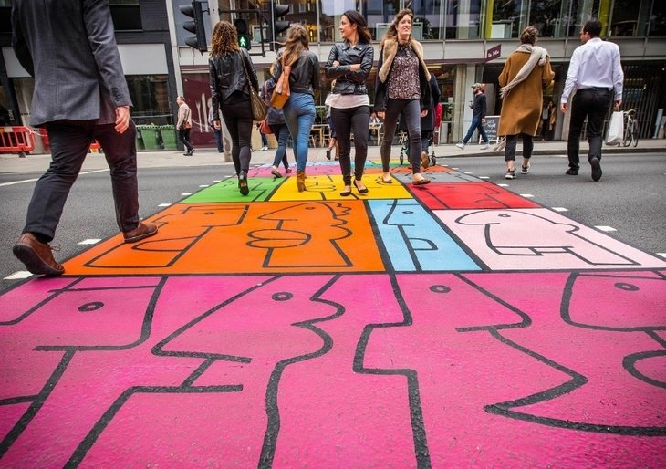 Thierry Noir - Colourful Crossings - Art Installation - Southwark Street - London