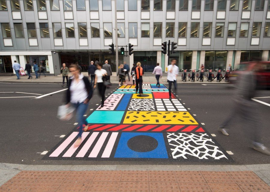 Camille Walala - Colourful Crossings - Art Installation - Southwark Street - London - Side View