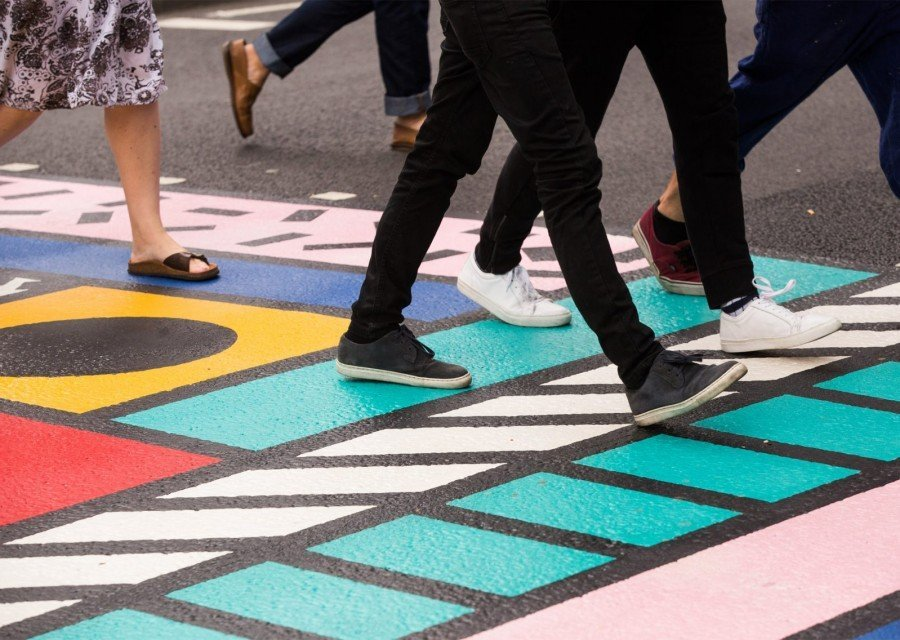 Camille Walala - Colourful Crossings - Art Installation - Southwark Street - London - Close up