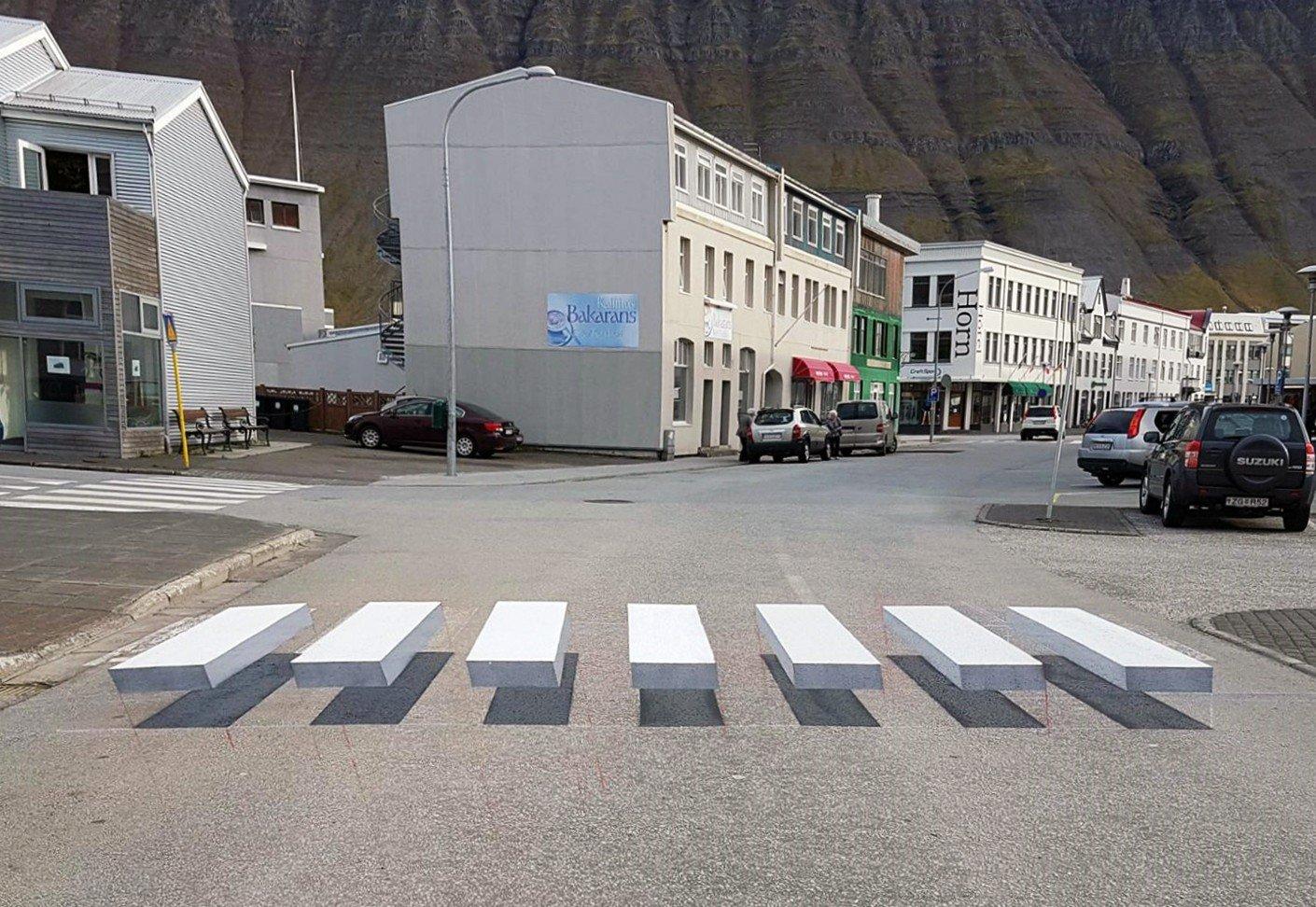 3D Art Installation – Pedestrian Crossing – Ísafjörður, Iceland