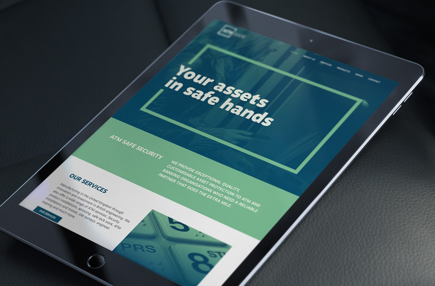 ATM Safe website homepage (tablet)